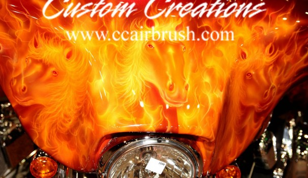 Custom Creations Orange Flame Horse Theme Motorcycle Airbrush
