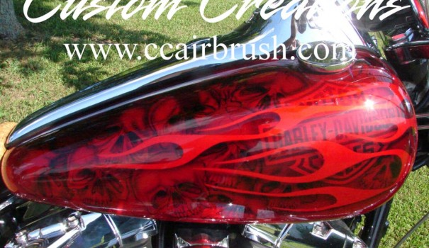 Custom Creation Harley Davidson Red Flame Airbrush