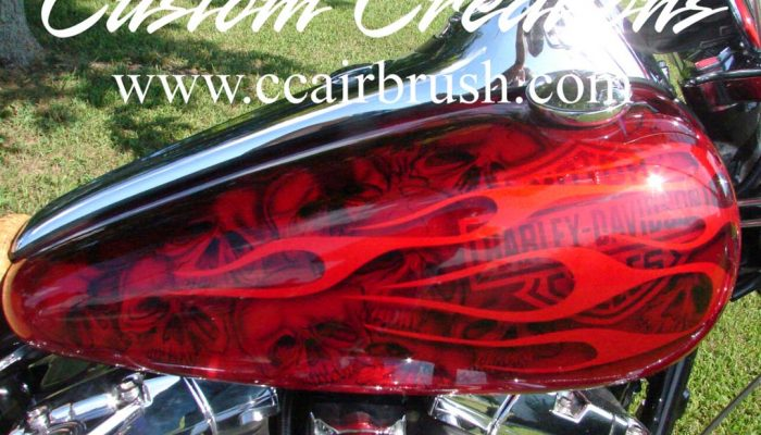 Custom Creation Harley Davidson Red Flame Airbrush