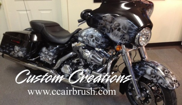 Custom Creations Ghost Flame and Skulls Motorcycle Airbrush